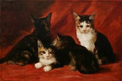 Daniel Merlin French Oil Painting Chats Kittens Jules The Roy 19th C. Art Animal