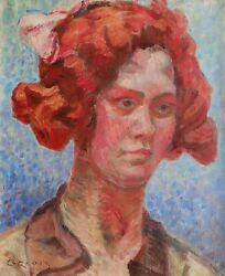 Georges Griois French Oil Painting Portrait Woman Art Tan Fauvism