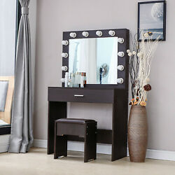 Vanity Set With Lighted Mirror Cushioned Stool Dressing Table Makeup Desk Walnut