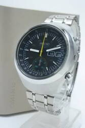 Seiko 6139-7101 Vintage Chronograph Helmet Ss Automatic Mens Watch Auth Works
