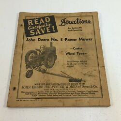 John Deere No. 5 Power Mower Directions For Attaching And Operation 180-4-43