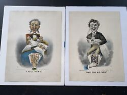 Original Pair Of Currier And Ives Prints A Full Hand And One For His Nob