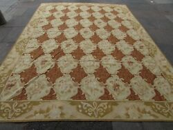 Vintage Hand Made French Design Wool Green Brown Original Aubusson 395x270cm