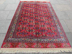 Fine Antique Traditional Hand Made Turkoman Yamot Wool Red Rug 262x169cm