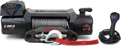 12v Electric Truck Winch With 3/8 X 82 Steel Wire Rope -- 12,000lb Capacity