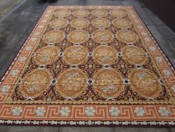 Vintage Hand Made French Design Wool Brown Gold Original Aubusson 370x272cm