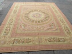 Vintage Hand Made French Design Wool Pink Gold Large Original Aubusson 291x258cm