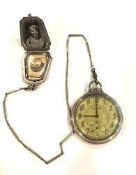 Solid 14kt Gold Waltham 17 Jewel Pocket Watch 10k White Gold Chain/l Pic Holder