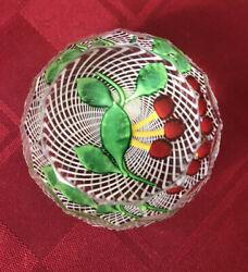 Saint Louis Multifaceted Cherries And Latticino 1987 Art Glass Paperweight Exclnt