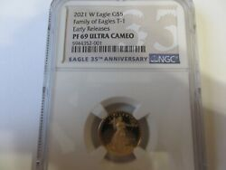2021 W 1/10 Oz. 5 Proof Gold Eagle Ngc Pf69 Early Release