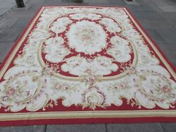 Vintage Hand Made French Design Wool Red Large Original Aubusson 366x271cm