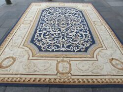 Vintage Hand Made French Design Wool Navy Blue Large Original Aubusson 374x275cm
