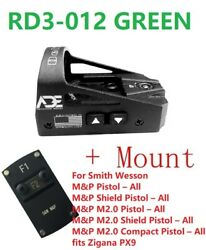 Ade Rd3-012 Green Dot Sight + Mount For Sw Smith Wesson Mp 2.0 Shield Sd Sd40