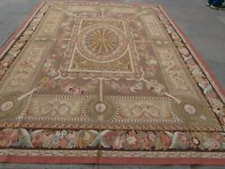 Vintage Hand Made French Design Wool Brown Pink Blue Original Aubusson 305x238cm