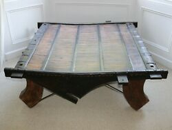 Indian Asian Bullock Ox Cart Coffee Table Antique Vintage