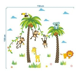 Nursery Wall Decal Stickers Animals Tree Monkey Removable Room Decors Background