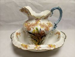 Antique Burgess And Leigh Pitcher And Basin Iris England