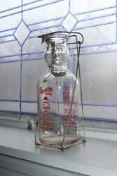 Vintage Cop Top Cream Top Baby Face Milk Bottle Square Quart With Spoon And Wire