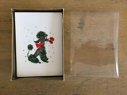 Vintage Christmas Glitter Poodle Note Cards 6 Cards And Envelopes Unwritten