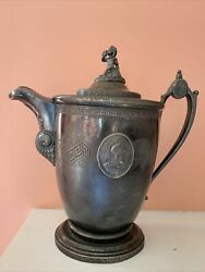 Antique 1854 Redfield And Rice New York Stimpson Patent Silver Double Wall Pitcher