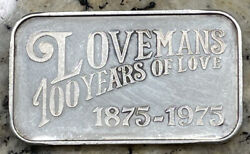 1875 - 1975 Lovemans Department Store 100 Years Of Love 999 Silver Bar 1 Troy Oz