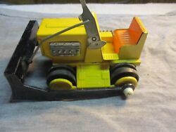 Vntg Bulldozer Pressed Metal Toy Bulldozer Battery Operated Made In Japan