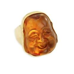 Vintage Amber Carved Smiling Buddah Face 14k Yellow Gold Ring Liquidation