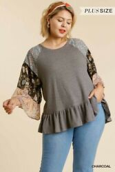 Umgee Floral Paisley Print Waffle Knit Ruffle Sleeve Top Plus Size Xl 1x