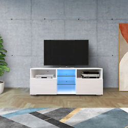 White High Gloss Led Tv Stand Shelf Entertainment Center Console Cabinet