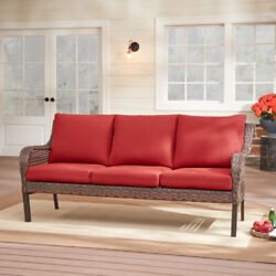 Outdoor Patio Porch Sofa Red Cushion Wicker Metal Frame