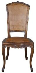 Antique French Louis Xv Walnut Dining Side Chair High Back Caned Provincial