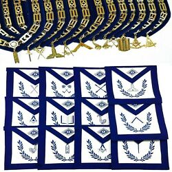 Masonic Regalia Aprons Blue Lodge Officers Set Of 12 And Blue Backing Chain Collar