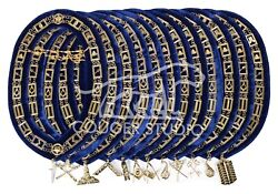 Masonic Regalia Blue Lodge Chain Collar With Officer Golden Jewels Set Of 12