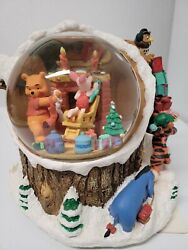 Vintage Winnie The Pooh Christmas Musical Snow Globe I Will Be Home For Xmas
