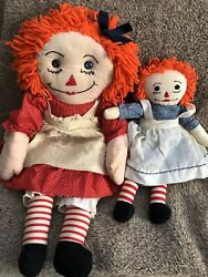 """Vintage 1950's 26"""" And 16"""" Handmade Raggedy Anne Dolls Pair"""