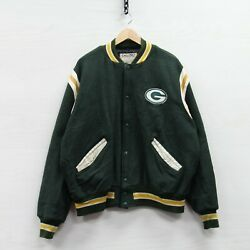 Vintage Green Bay Packers Delong Wool Bomber Jacket Size Xl 90s Nfl Leather Trim