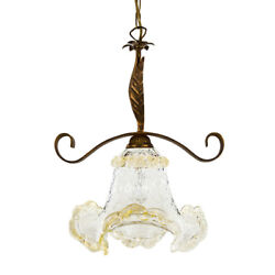 Chandelier Cooking With Glass Of Murano Leaf Gold Style Country Shabby. Genuine