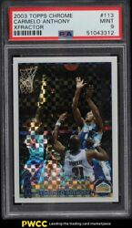 2003 Topps Chrome Xfractor Carmelo Anthony Rookie Rc /220 113 Psa 9 Mint