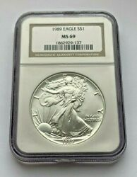 1989 Silver Eagle Ngc Ms69 One Dollar Coin