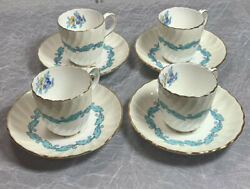 Minton Ardmore Tea Cups And Saucers4 Espresso Demitasse Made In England Vintage
