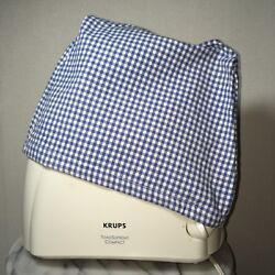 Gingham Cotton Toaster Appliance Cover Vintage Blue White Check Handmade