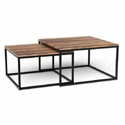 Homeroots 29.5 Square Nesting Modern Wood Coffee Tables In Brown Set Of 2