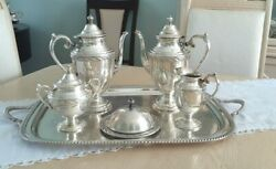 Spring Flower By Wm Rogers And Son Silverplated Coffee/teapot Set Butter Dish...