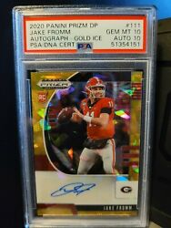 2020 Draft Picks Jake Fromm Auto Gold Cracked Ice 1/7 Psa 10