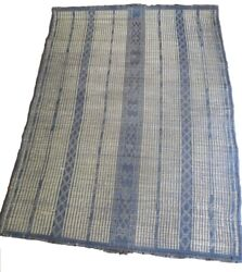 Rare Antique Mauritanian Mat In Leather And Handmade Palm Fiber. 1950/59