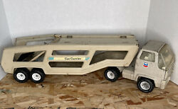 Vintage Tonka Corp Chevron Car Carrier Xr-101 2pc Grey Pressed Metal Made In Usa
