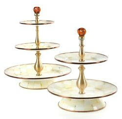 Mackenzie-childs Parchment Check Enamel 2 And 3 Tier Sweet Stand - Set Of 2