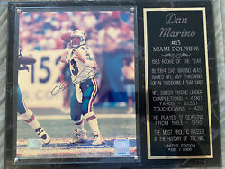 Dan Marino Autograph Picture And Plaque With Stats. Coa Included