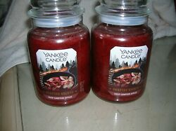 YANKEE CANDLES 2 22 0Z CRISP CAMPFIRE APPLES GREAT NEW CANDLE FREE SHIPPING