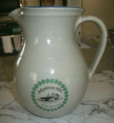 Red Wing Stoneware Mapleton Railroad Depot Mn 2 Qt. Pitcher Numbered 125 Years